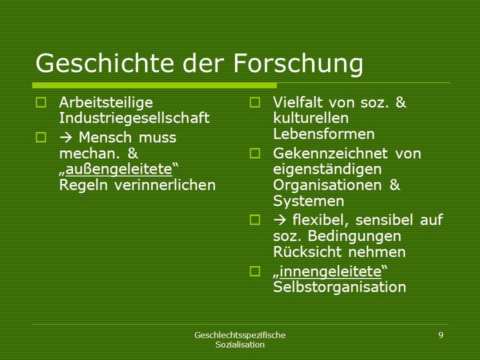 Geschlechtsspezifische Sozialisation 9 Geschichte der Forschung Arbeitsteilige Industriegesellschaft Mensch muss mechan. &außengeleitete Regeln verinn