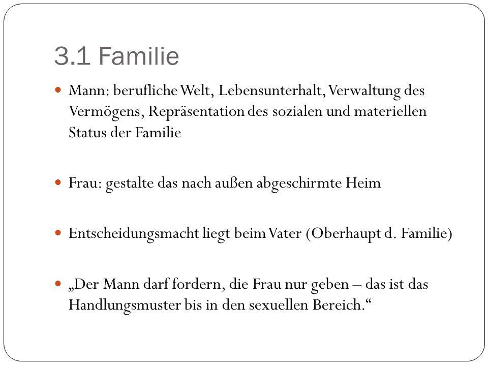 3.1 Familie Mann: berufliche Welt, Lebensunterhalt, Verwaltung des Vermögens, Repräsentation des sozialen und materiellen Status der Familie Frau: ges