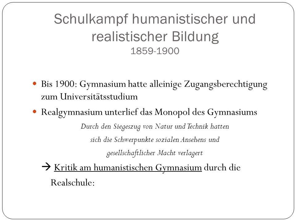 Schulkampf humanistischer und realistischer Bildung 1859-1900 Bis 1900: Gymnasium hatte alleinige Zugangsberechtigung zum Universitätsstudium Realgymn