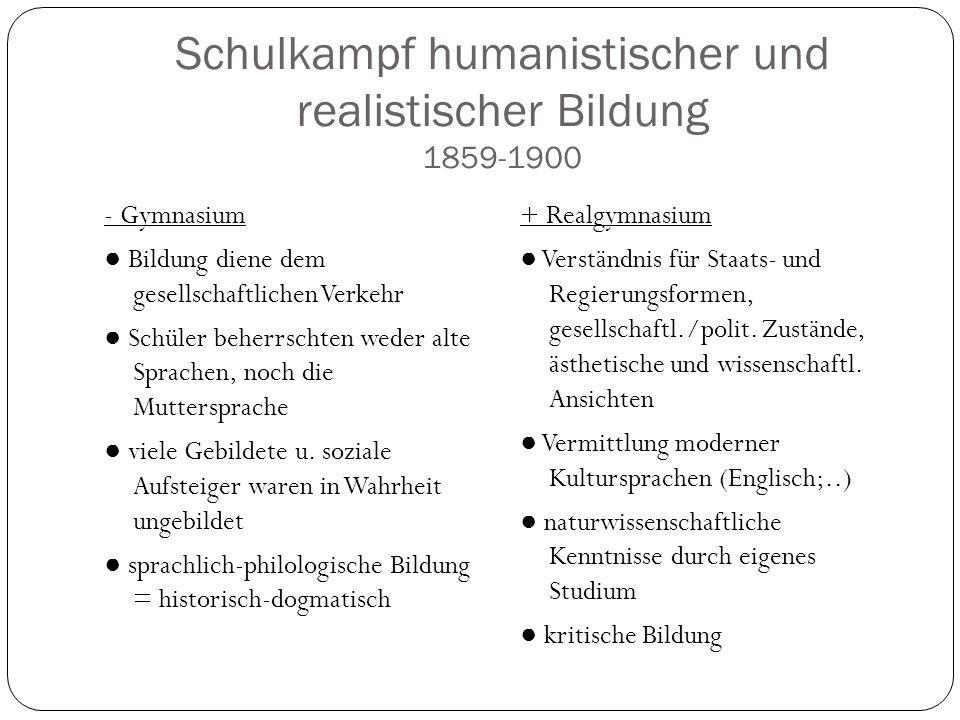 Schulkampf humanistischer und realistischer Bildung 1859-1900 - Gymnasium Bildung diene dem gesellschaftlichen Verkehr Schüler beherrschten weder alte