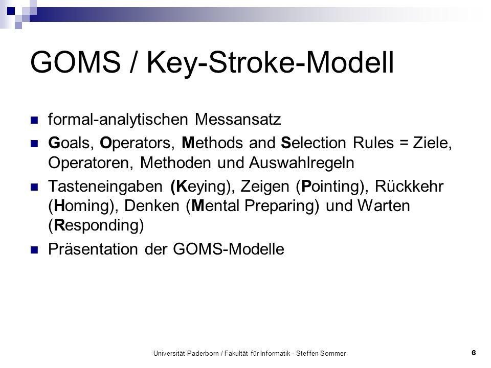 Universität Paderborn / Fakultät für Informatik - Steffen Sommer6 GOMS / Key-Stroke-Modell formal-analytischen Messansatz Goals, Operators, Methods an