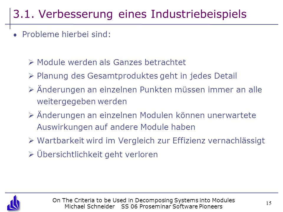 On The Criteria to be Used in Decomposing Systems into Modules Michael SchneiderSS 06 Proseminar Software Pioneers 15 3.1. Verbesserung eines Industri