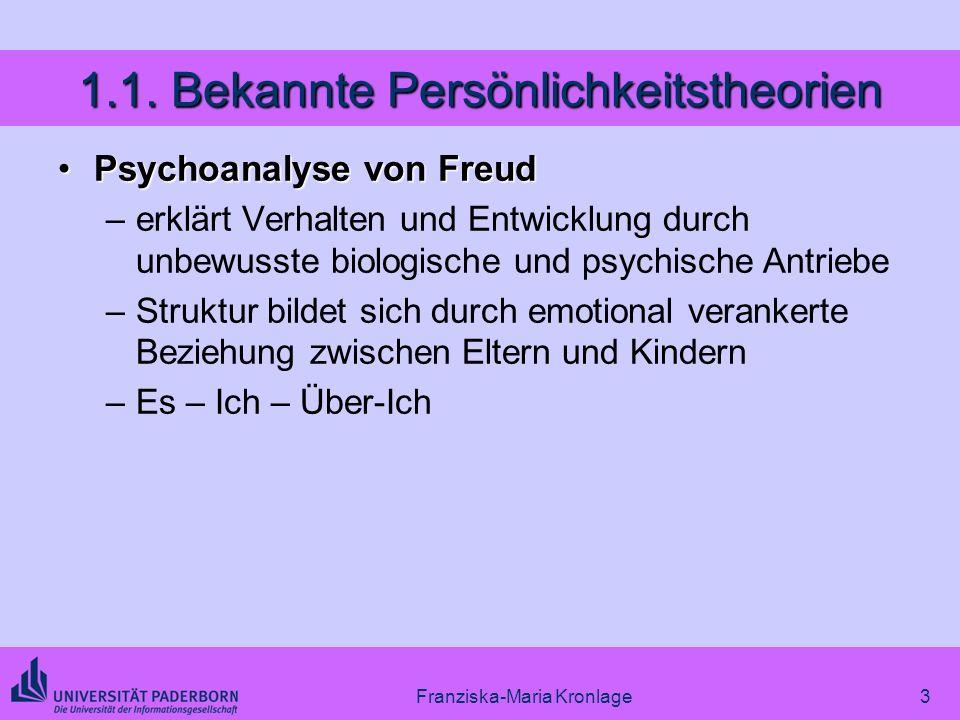 Franziska-Maria Kronlage3 1.1. Bekannte Persönlichkeitstheorien Psychoanalyse von FreudPsychoanalyse von Freud –erklärt Verhalten und Entwicklung durc