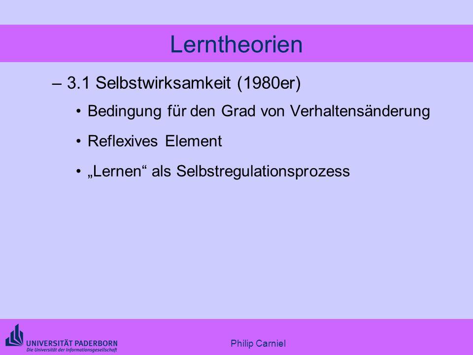 Philip Carniel Lerntheorien –3.1 Selbstwirksamkeit (1980er) Bedingung für den Grad von Verhaltensänderung Reflexives Element Lernen als Selbstregulati