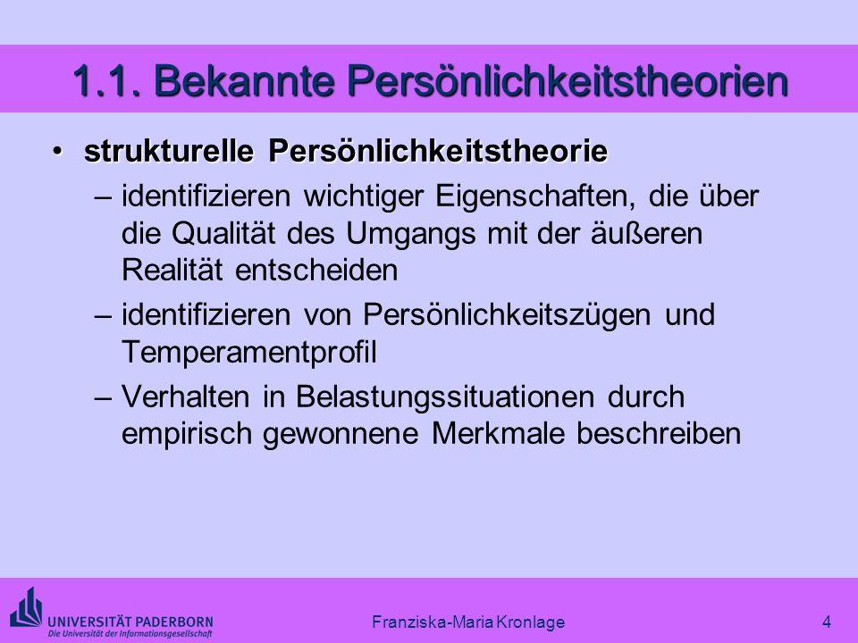 Franziska-Maria Kronlage4 1.1. Bekannte Persönlichkeitstheorien strukturelle Persönlichkeitstheoriestrukturelle Persönlichkeitstheorie –identifizieren
