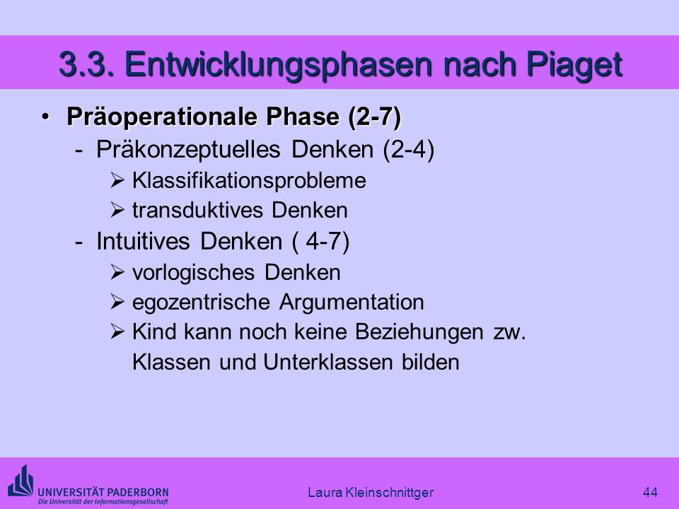 Laura Kleinschnittger44 3.3. Entwicklungsphasen nach Piaget Präoperationale Phase (2-7)Präoperationale Phase (2-7) -Präkonzeptuelles Denken (2-4) Klas