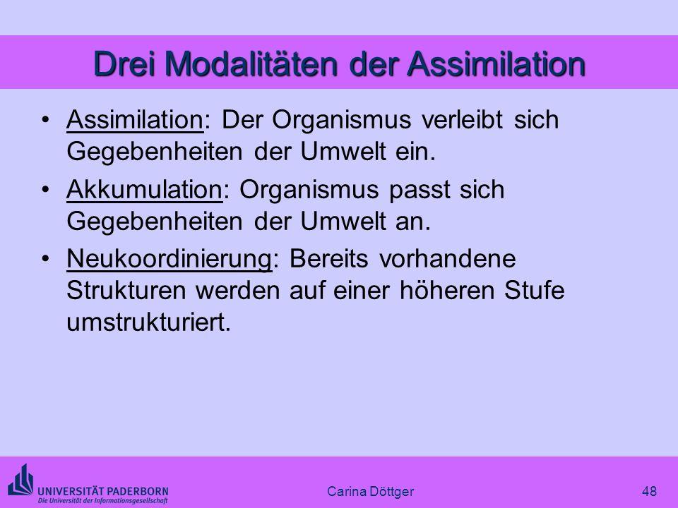 Drei Modalitäten der Assimilation Assimilation: Der Organismus verleibt sich Gegebenheiten der Umwelt ein. Akkumulation: Organismus passt sich Gegeben