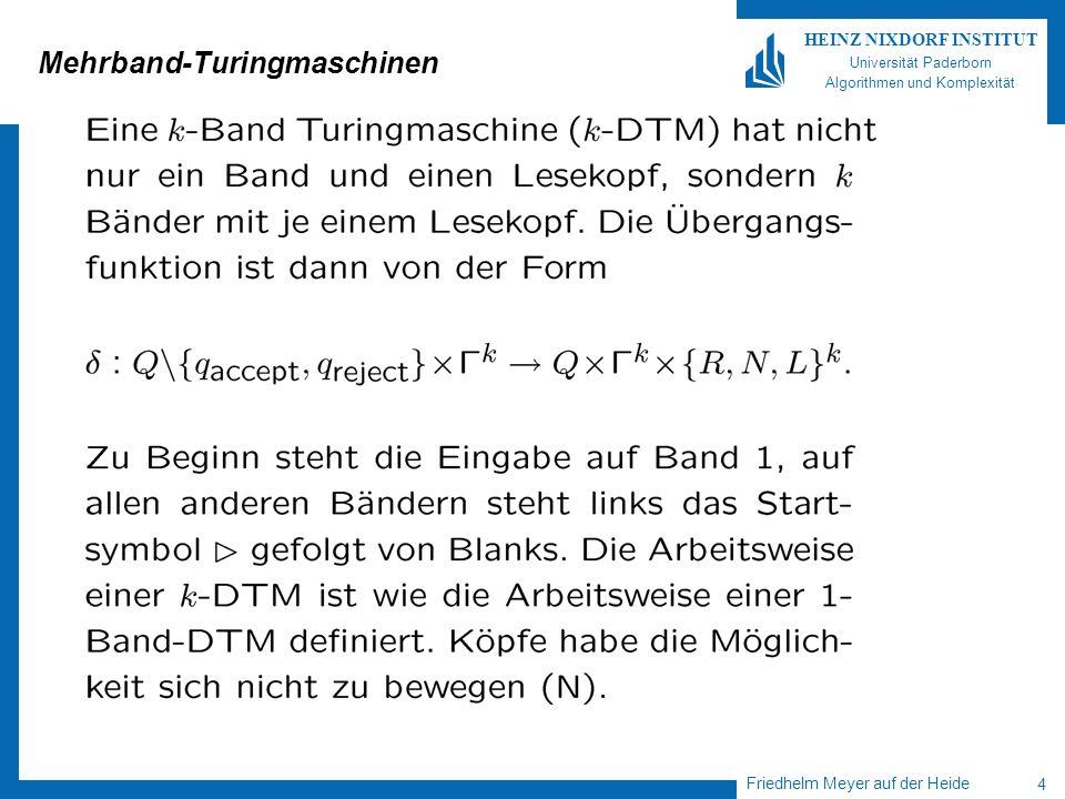 Friedhelm Meyer auf der Heide 5 HEINZ NIXDORF INSTITUT Universität Paderborn Algorithmen und Komplexität 1-Band-versus k-Band Turingmaschinen Wird die Sprache L µ * von einer k-Band Turingmaschine M entschieden (akzeptiert), so gibt es auch eine 1-Band Turingmaschine, die L entscheidet (akzeptiert).