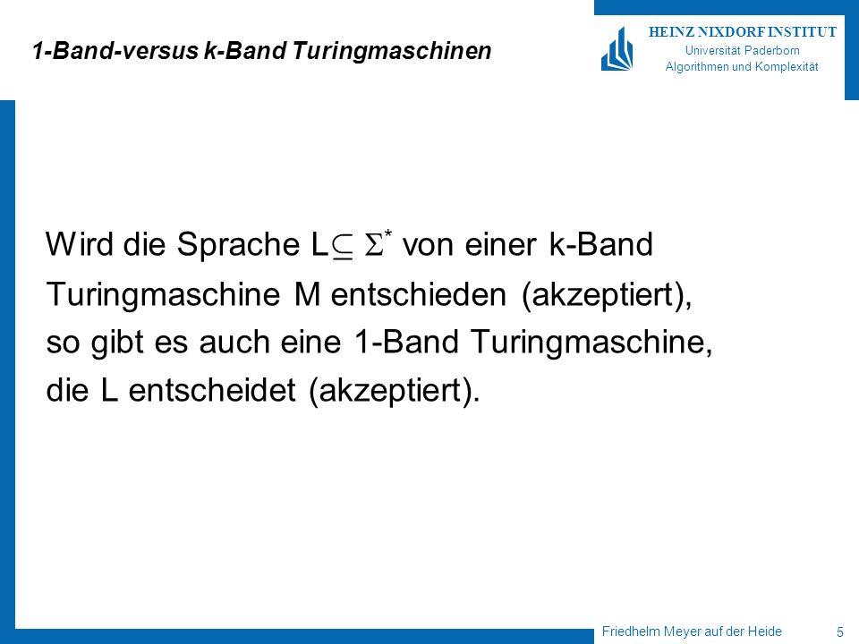 Friedhelm Meyer auf der Heide 5 HEINZ NIXDORF INSTITUT Universität Paderborn Algorithmen und Komplexität 1-Band-versus k-Band Turingmaschinen Wird die