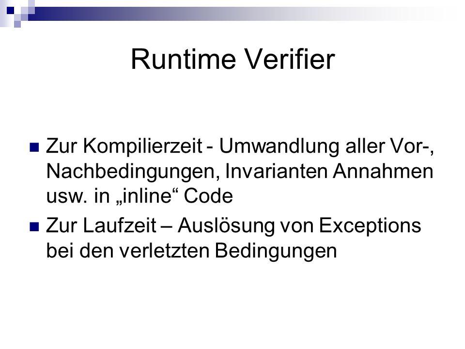 Runtime Verifier Zur Kompilierzeit - Umwandlung aller Vor-, Nachbedingungen, Invarianten Annahmen usw. in inline Code Zur Laufzeit – Auslösung von Exc
