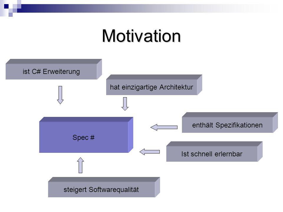 Motivation Spec # ist C# Erweiterung hat einzigartige Architektur enthält Spezifikationen Ist schnell erlernbar steigert Softwarequalität