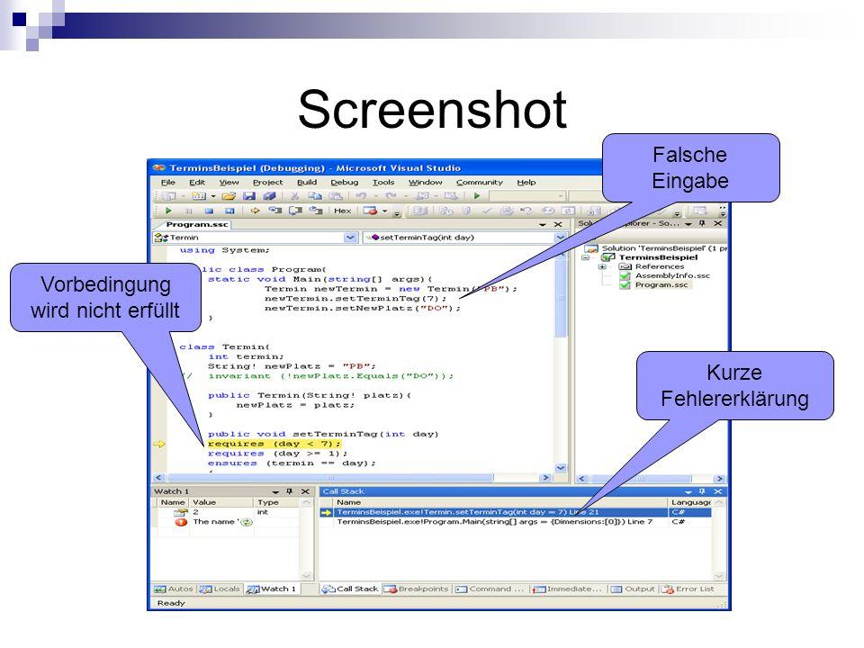 Screenshot Falsche Eingabe Vorbedingung wird nicht erfüllt Kurze Fehlererklärung