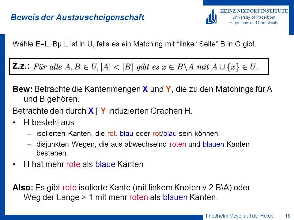 Friedhelm Meyer auf der Heide 16 HEINZ NIXDORF INSTITUTE University of Paderborn Algorithms and Complexity Beweis der Austauscheigenschaft Also: Es gibt rote isolierte Kante (mit linkem Knoten v 2 B\A) oder Weg P der Länge > 1 mit mehr roten als blauen Kanten.