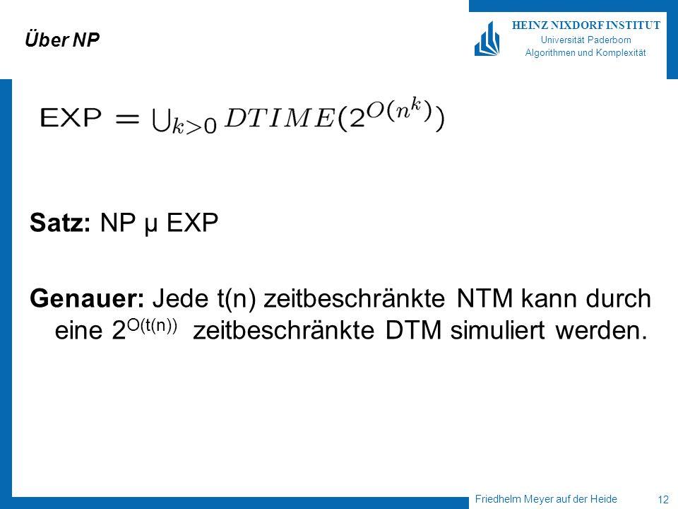 Friedhelm Meyer auf der Heide 12 HEINZ NIXDORF INSTITUT Universität Paderborn Algorithmen und Komplexität Über NP Satz: NP µ EXP Genauer: Jede t(n) ze