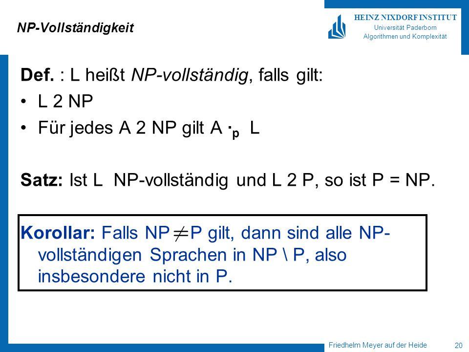 Friedhelm Meyer auf der Heide 20 HEINZ NIXDORF INSTITUT Universität Paderborn Algorithmen und Komplexität NP-Vollständigkeit Def. : L heißt NP-vollstä