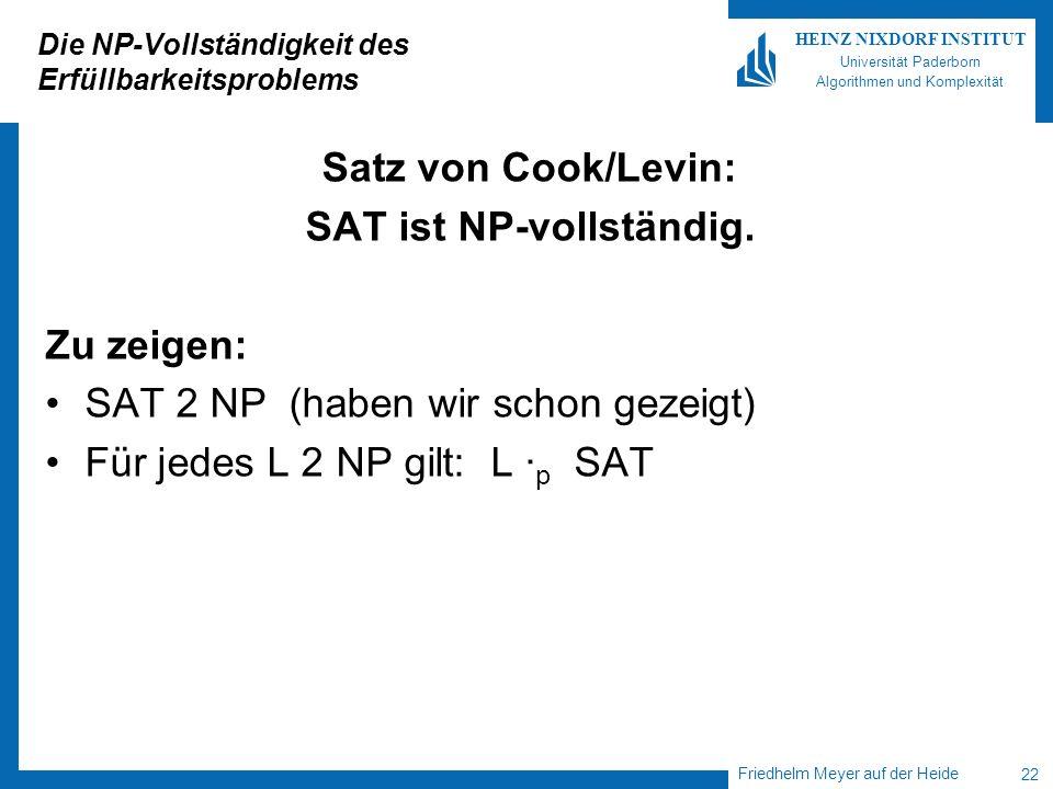 Friedhelm Meyer auf der Heide 22 HEINZ NIXDORF INSTITUT Universität Paderborn Algorithmen und Komplexität Die NP-Vollständigkeit des Erfüllbarkeitspro