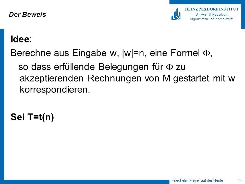 Friedhelm Meyer auf der Heide 24 HEINZ NIXDORF INSTITUT Universität Paderborn Algorithmen und Komplexität Der Beweis Idee: Berechne aus Eingabe w, |w|
