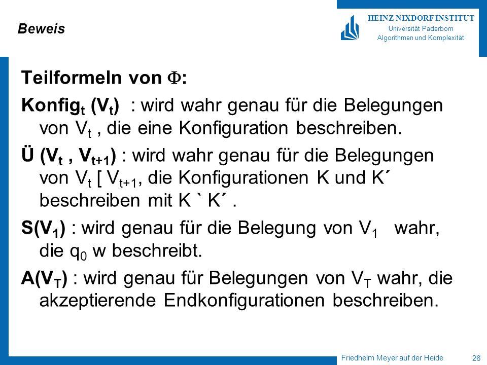 Friedhelm Meyer auf der Heide 26 HEINZ NIXDORF INSTITUT Universität Paderborn Algorithmen und Komplexität Beweis Teilformeln von : Konfig t (V t ) : w