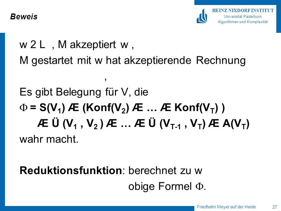 Friedhelm Meyer auf der Heide 27 HEINZ NIXDORF INSTITUT Universität Paderborn Algorithmen und Komplexität Beweis w 2 L, M akzeptiert w, M gestartet mi
