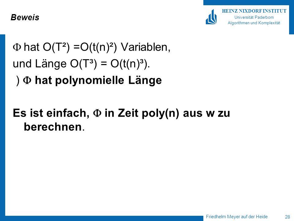 Friedhelm Meyer auf der Heide 28 HEINZ NIXDORF INSTITUT Universität Paderborn Algorithmen und Komplexität Beweis hat O(T²) =O(t(n)²) Variablen, und Lä
