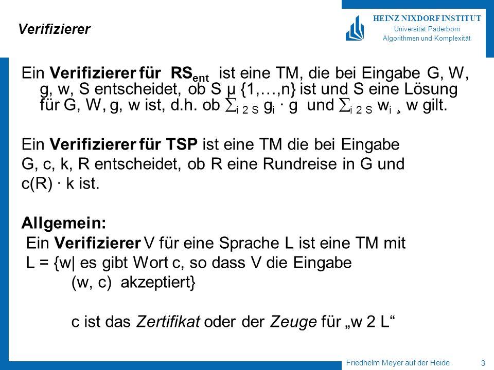 Friedhelm Meyer auf der Heide 24 HEINZ NIXDORF INSTITUT Universität Paderborn Algorithmen und Komplexität Der Beweis Idee: Berechne aus Eingabe w,  w =n, eine Formel, so dass erfüllende Belegungen für zu akzeptierenden Rechnungen von M gestartet mit w korrespondieren.