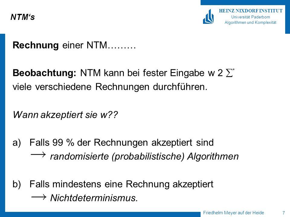 Friedhelm Meyer auf der Heide 8 HEINZ NIXDORF INSTITUT Universität Paderborn Algorithmen und Komplexität Rechnungen einer NTM Berechnungsbaum einer NTM bei Eingabe w