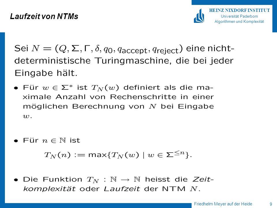 Friedhelm Meyer auf der Heide 9 HEINZ NIXDORF INSTITUT Universität Paderborn Algorithmen und Komplexität Laufzeit von NTMs