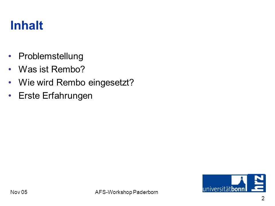Nov 05AFS-Workshop Paderborn 3 Problemstellung Windows ist kein echtes Multi-User-OS Einsatz von Windows in Kursen –Unterschiedliche Anwendungen –Mehrere Kurse pro Tag –Aufräumen nach Kursen Öffentliche Arbeitsplätze –Linux bereits im Einsatz mit OpenAFS (Kerberos V gepl.) –Windows Ohne ADS Virenbefall