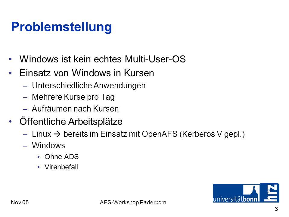 Nov 05AFS-Workshop Paderborn 3 Problemstellung Windows ist kein echtes Multi-User-OS Einsatz von Windows in Kursen –Unterschiedliche Anwendungen –Mehr