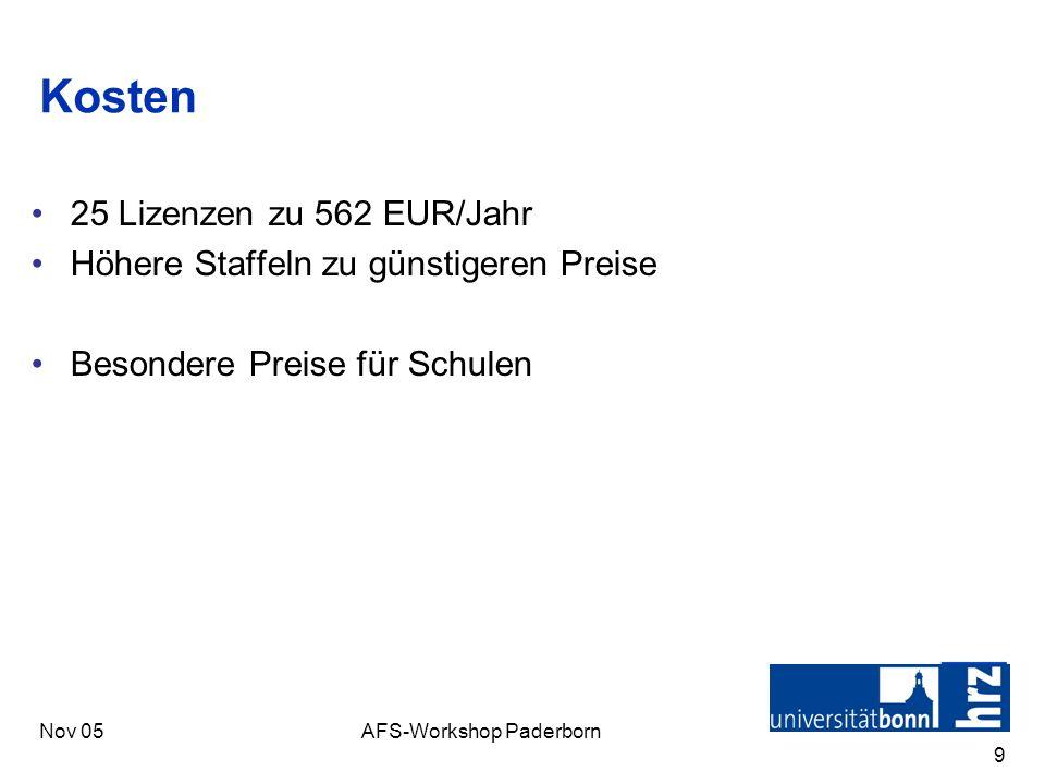 Nov 05AFS-Workshop Paderborn 9 Kosten 25 Lizenzen zu 562 EUR/Jahr Höhere Staffeln zu günstigeren Preise Besondere Preise für Schulen