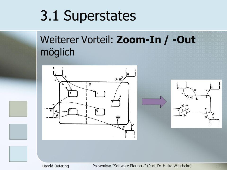 Harald Detering Proseminar Software Pioneers (Prof. Dr. Heike Wehrheim)11 3.1 Superstates Weiterer Vorteil: Zoom-In / -Out möglich
