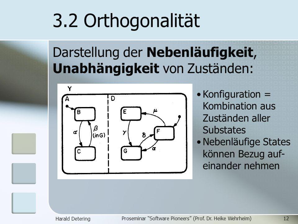 Harald Detering Proseminar Software Pioneers (Prof. Dr. Heike Wehrheim)12 3.2 Orthogonalität Darstellung der Nebenläufigkeit, Unabhängigkeit von Zustä