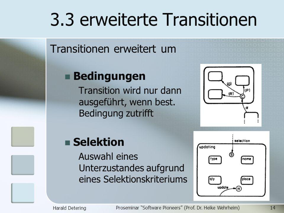 Harald Detering Proseminar Software Pioneers (Prof. Dr. Heike Wehrheim)14 3.3 erweiterte Transitionen Transitionen erweitert um Bedingungen Transition