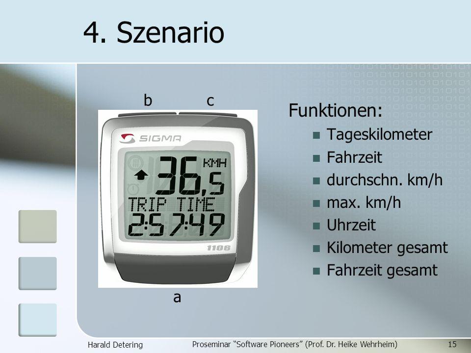Harald Detering Proseminar Software Pioneers (Prof. Dr. Heike Wehrheim)15 4. Szenario Funktionen: Tageskilometer Fahrzeit durchschn. km/h max. km/h Uh