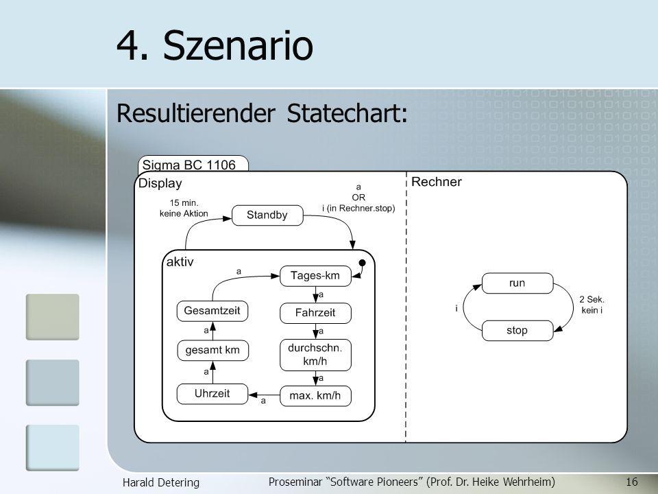Harald Detering Proseminar Software Pioneers (Prof. Dr. Heike Wehrheim)16 4. Szenario Resultierender Statechart: