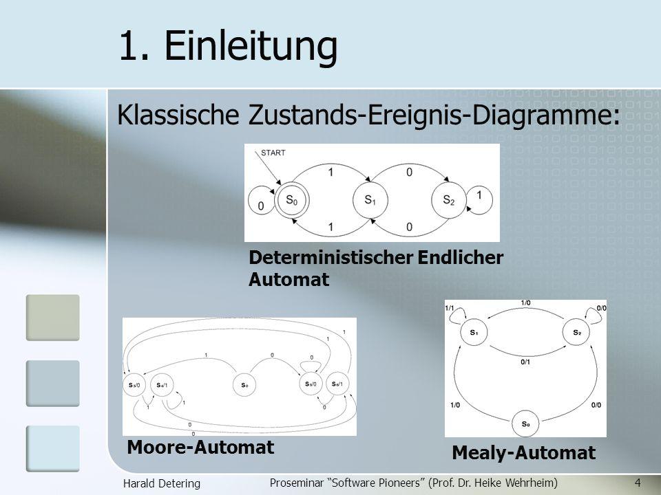 Harald Detering Proseminar Software Pioneers (Prof. Dr. Heike Wehrheim)4 1. Einleitung Klassische Zustands-Ereignis-Diagramme: Deterministischer Endli