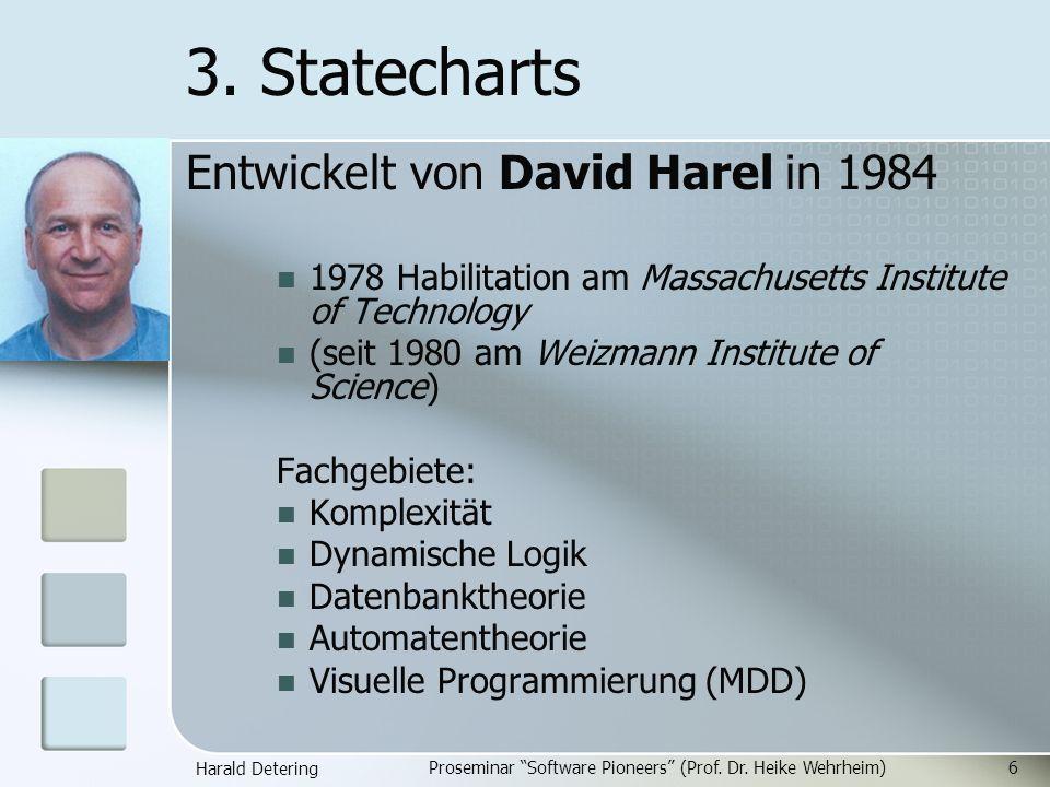 Harald Detering Proseminar Software Pioneers (Prof. Dr. Heike Wehrheim)6 3. Statecharts Entwickelt von David Harel in 1984 1978 Habilitation am Massac