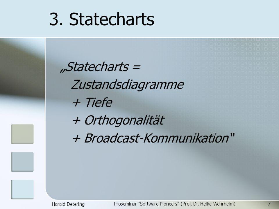 Harald Detering Proseminar Software Pioneers (Prof. Dr. Heike Wehrheim)7 3. Statecharts Statecharts = Zustandsdiagramme + Tiefe + Orthogonalität + Bro