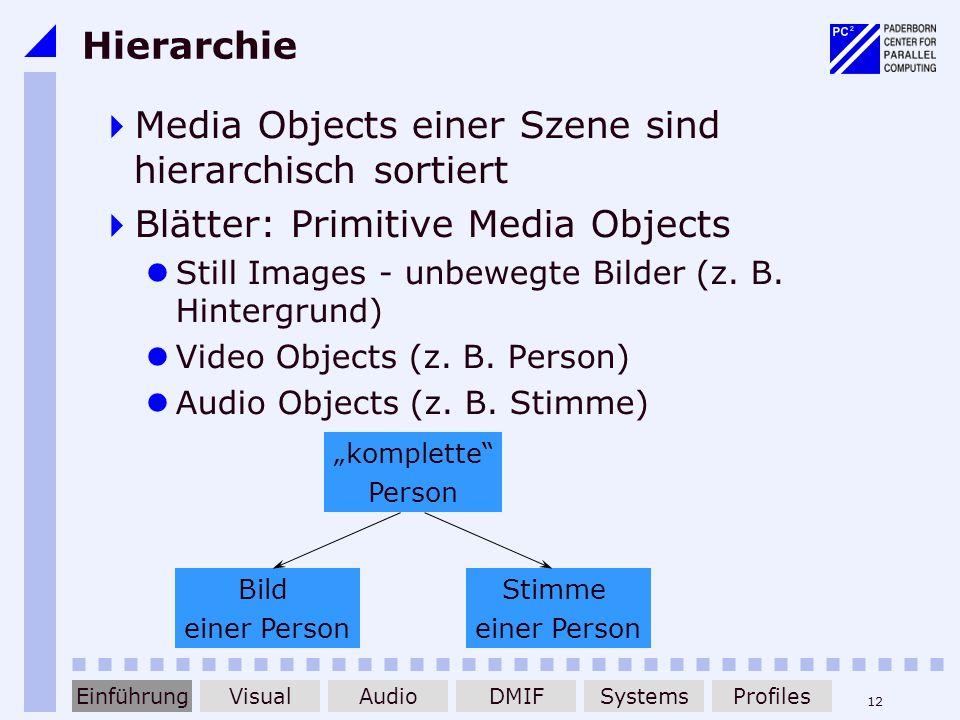 12 Hierarchie Media Objects einer Szene sind hierarchisch sortiert Blätter: Primitive Media Objects Still Images - unbewegte Bilder (z. B. Hintergrund