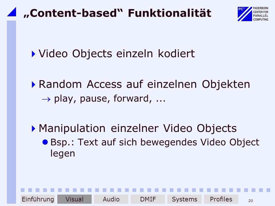 20 Content-based Funktionalität Video Objects einzeln kodiert Random Access auf einzelnen Objekten play, pause, forward,... Manipulation einzelner Vid