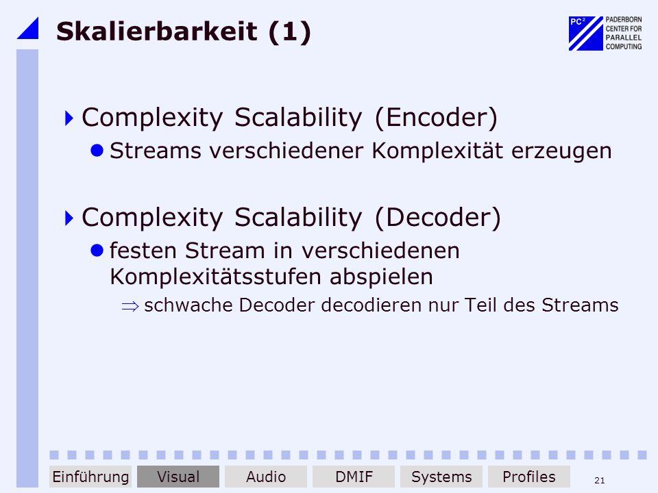 21 Skalierbarkeit (1) Complexity Scalability (Encoder) Streams verschiedener Komplexität erzeugen Complexity Scalability (Decoder) festen Stream in ve