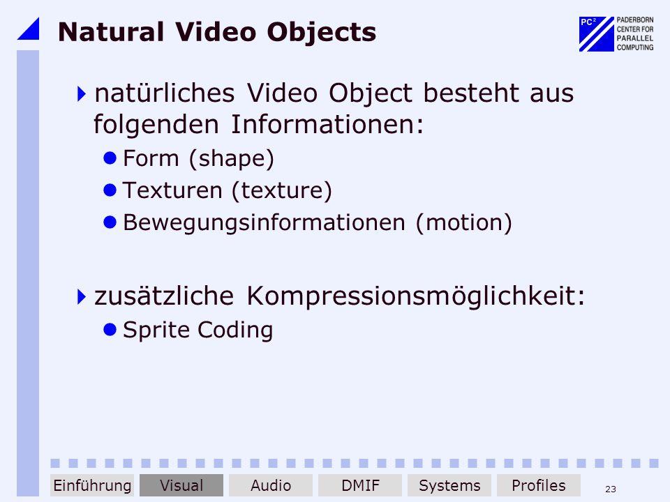 23 Natural Video Objects natürliches Video Object besteht aus folgenden Informationen: Form (shape) Texturen (texture) Bewegungsinformationen (motion)