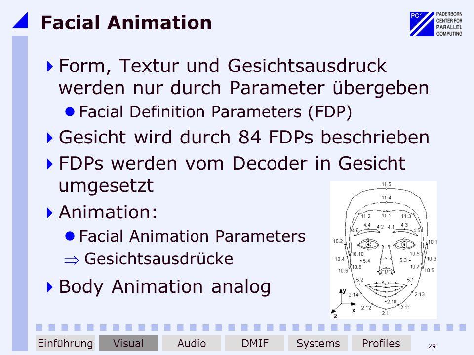 29 Facial Animation Form, Textur und Gesichtsausdruck werden nur durch Parameter übergeben Facial Definition Parameters (FDP) Gesicht wird durch 84 FD