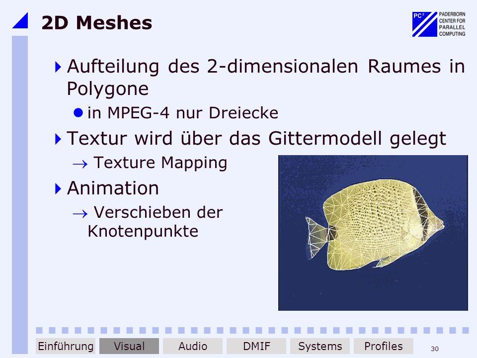 30 2D Meshes Aufteilung des 2-dimensionalen Raumes in Polygone in MPEG-4 nur Dreiecke Textur wird über das Gittermodell gelegt Texture Mapping Animati