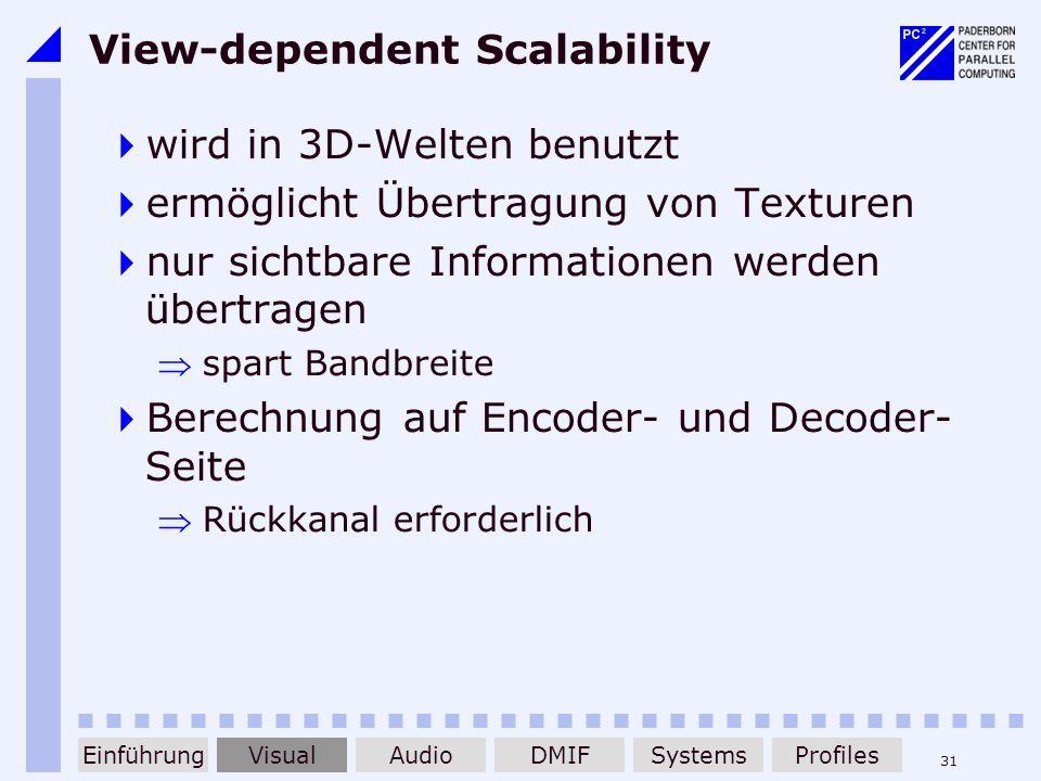 31 View-dependent Scalability wird in 3D-Welten benutzt ermöglicht Übertragung von Texturen nur sichtbare Informationen werden übertragen spart Bandbr