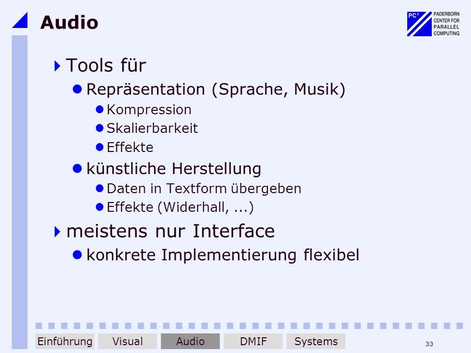 33 Audio Tools für Repräsentation (Sprache, Musik) Kompression Skalierbarkeit Effekte künstliche Herstellung Daten in Textform übergeben Effekte (Wide