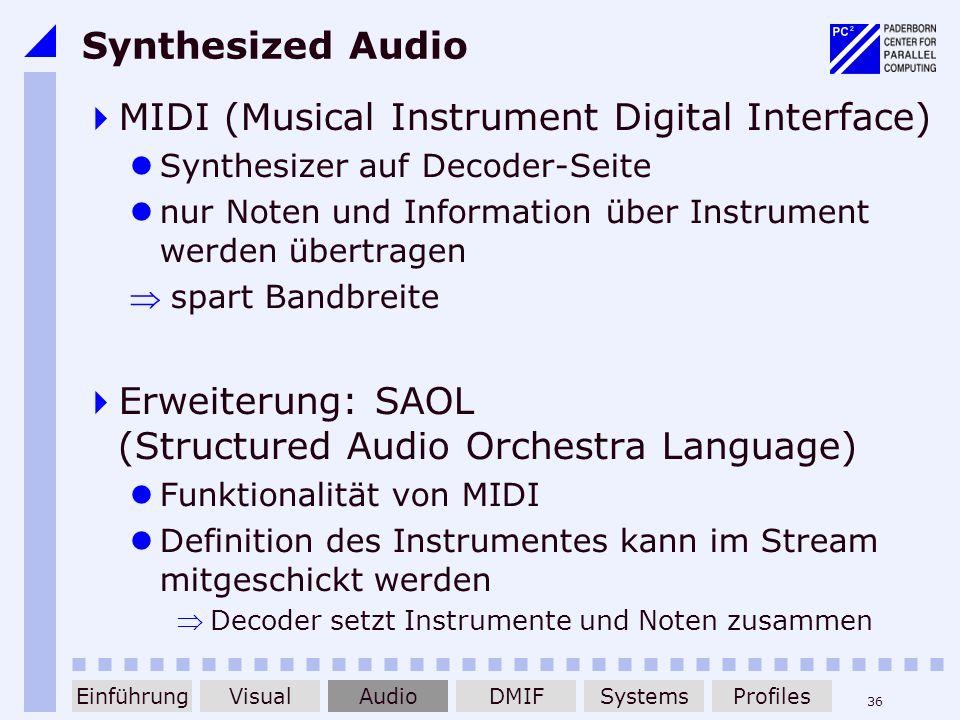 36 Synthesized Audio MIDI (Musical Instrument Digital Interface) Synthesizer auf Decoder-Seite nur Noten und Information über Instrument werden übertr