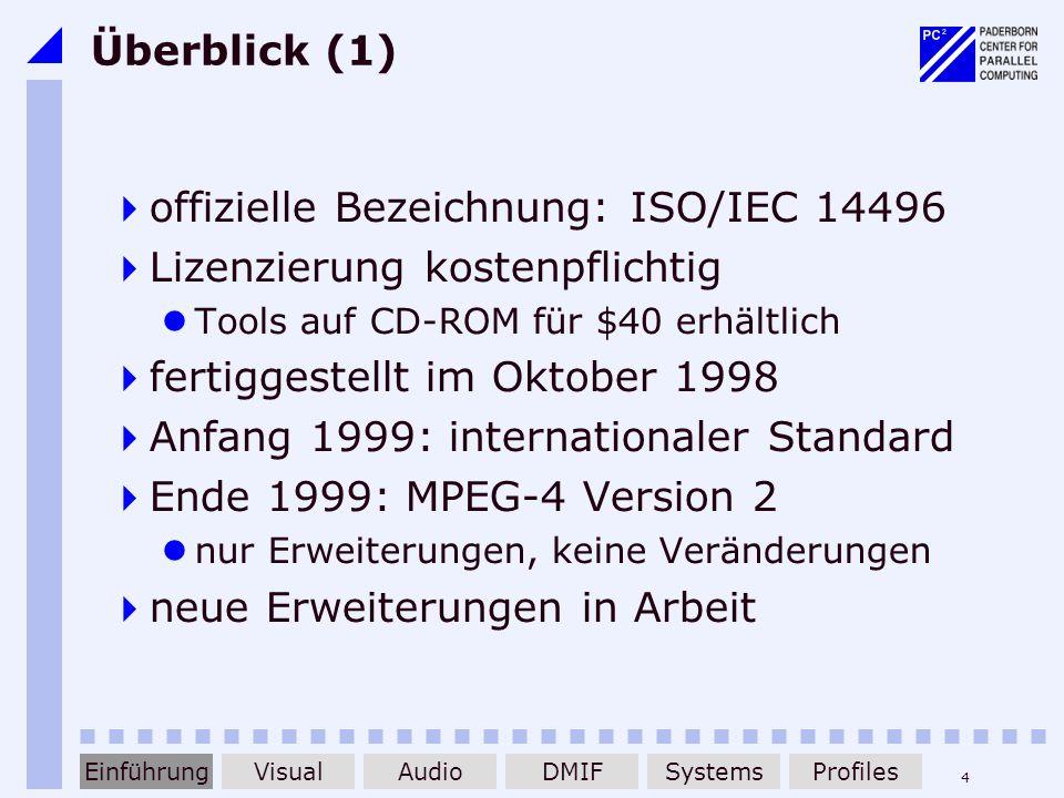 4 Überblick (1) offizielle Bezeichnung: ISO/IEC 14496 Lizenzierung kostenpflichtig Tools auf CD-ROM für $40 erhältlich fertiggestellt im Oktober 1998