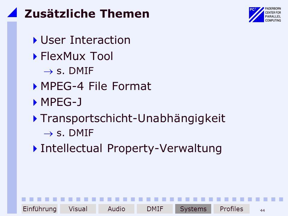 44 Zusätzliche Themen User Interaction FlexMux Tool s. DMIF MPEG-4 File Format MPEG-J Transportschicht-Unabhängigkeit s. DMIF Intellectual Property-Ve