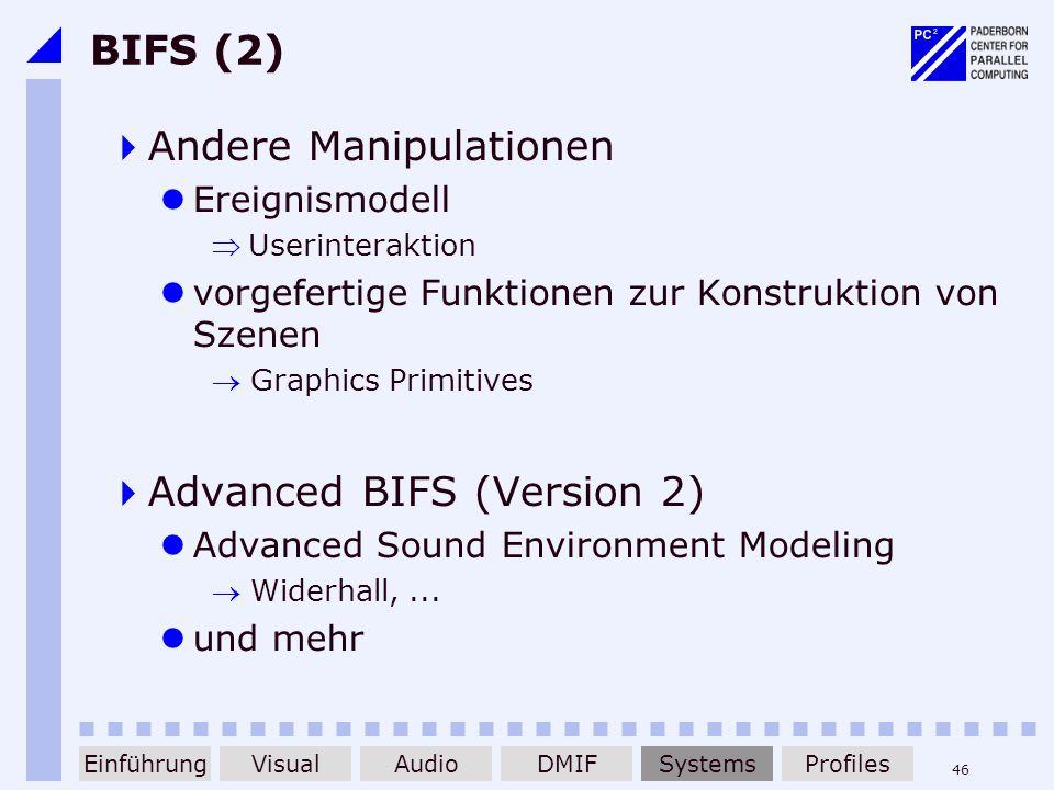 46 BIFS (2) Andere Manipulationen Ereignismodell Userinteraktion vorgefertige Funktionen zur Konstruktion von Szenen Graphics Primitives Advanced BIFS